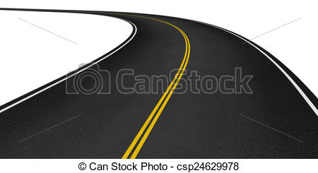 Asphalt clipart curved road Stock asphalt road Rendered Curved