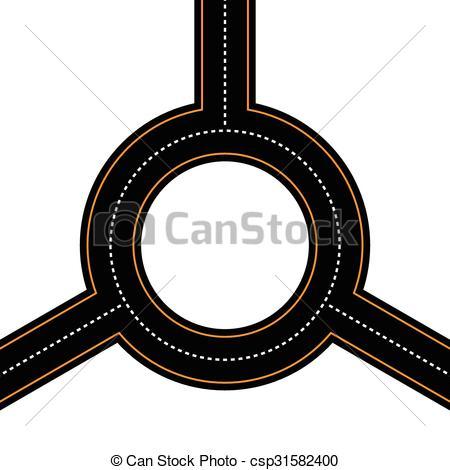 Asphalt clipart junction  Vector Empty roundabout junction