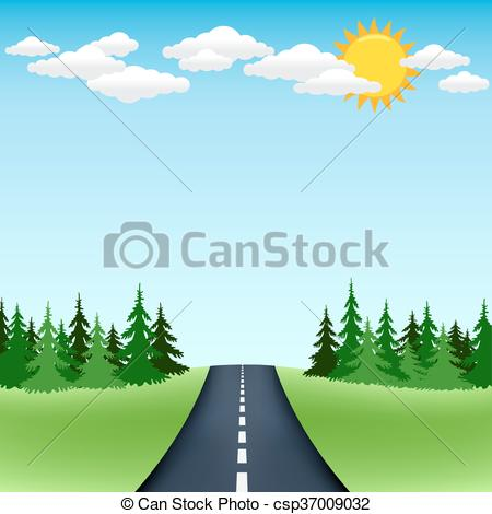 Asphalt clipart road trip Forest trip blue road of