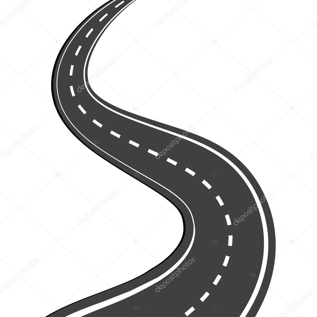 Asphalt clipart windy road — with © markings by
