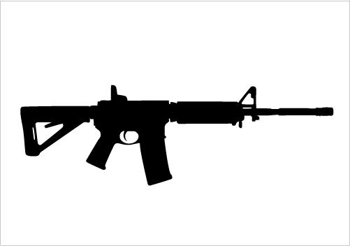 Assault Rifle clipart gun silhouette Graphics Military Vector Vector Proud