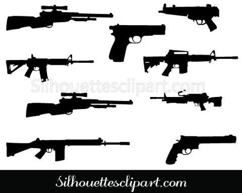 Assault Rifle clipart gun silhouette Gun Shapes Military Pin Graphics