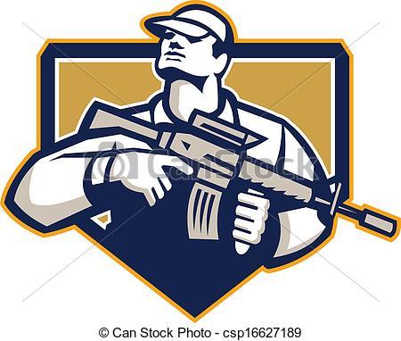 Assault Rifle clipart military Assault csp16627189 Retro Assault Vector