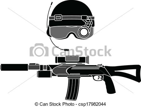 Assault Rifle clipart military Clip stencil rifle and vector