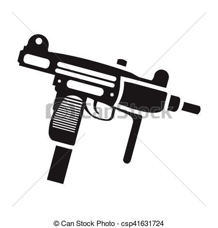 Assault Rifle clipart uzi Black style weapon stock isolated