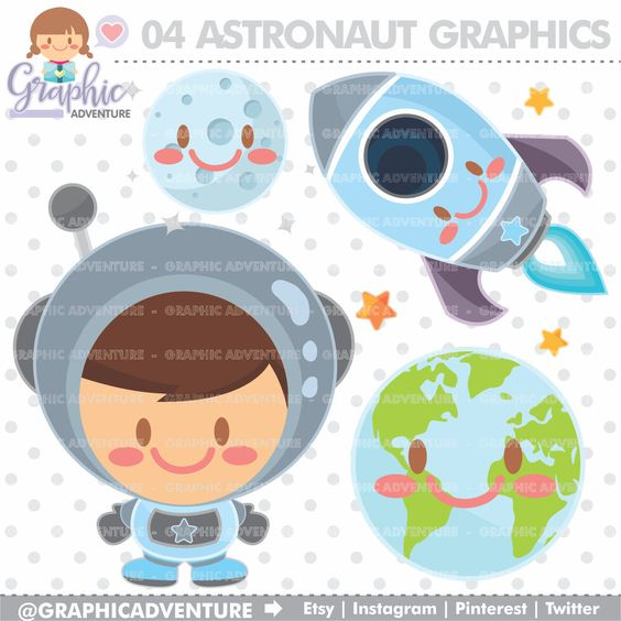 Astronaut clipart earth space Art Graphics Clipart COMMERCIAL Clipart