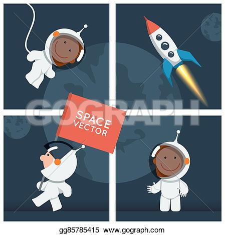 Astronaut clipart funny Style vector different spaceship gg85785415