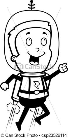 Astronaut clipart jetpack Pack child with A happy
