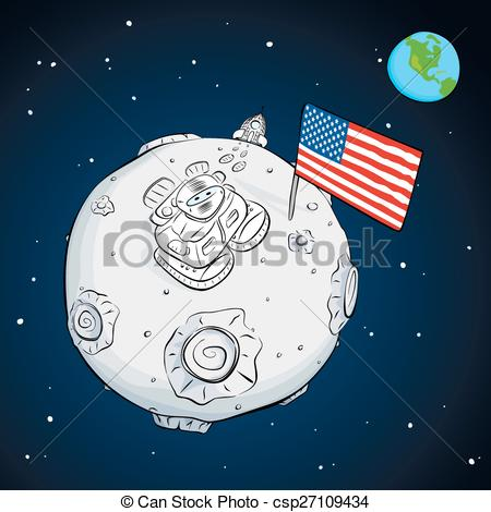 Astronaut clipart the moon drawing Color astronaut of USA the