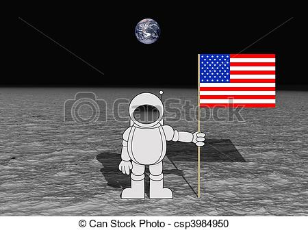 Astronaut clipart the moon drawing Art collection Landing of Stock