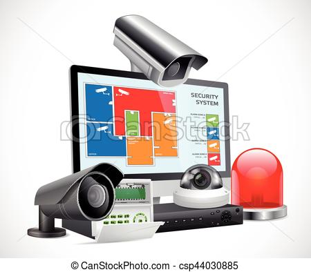 Audio clipart security alarm Of CCTV recorder system Vector