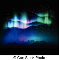 Aurora Borealis clipart Aurora borealis starry Clipart Illustrations