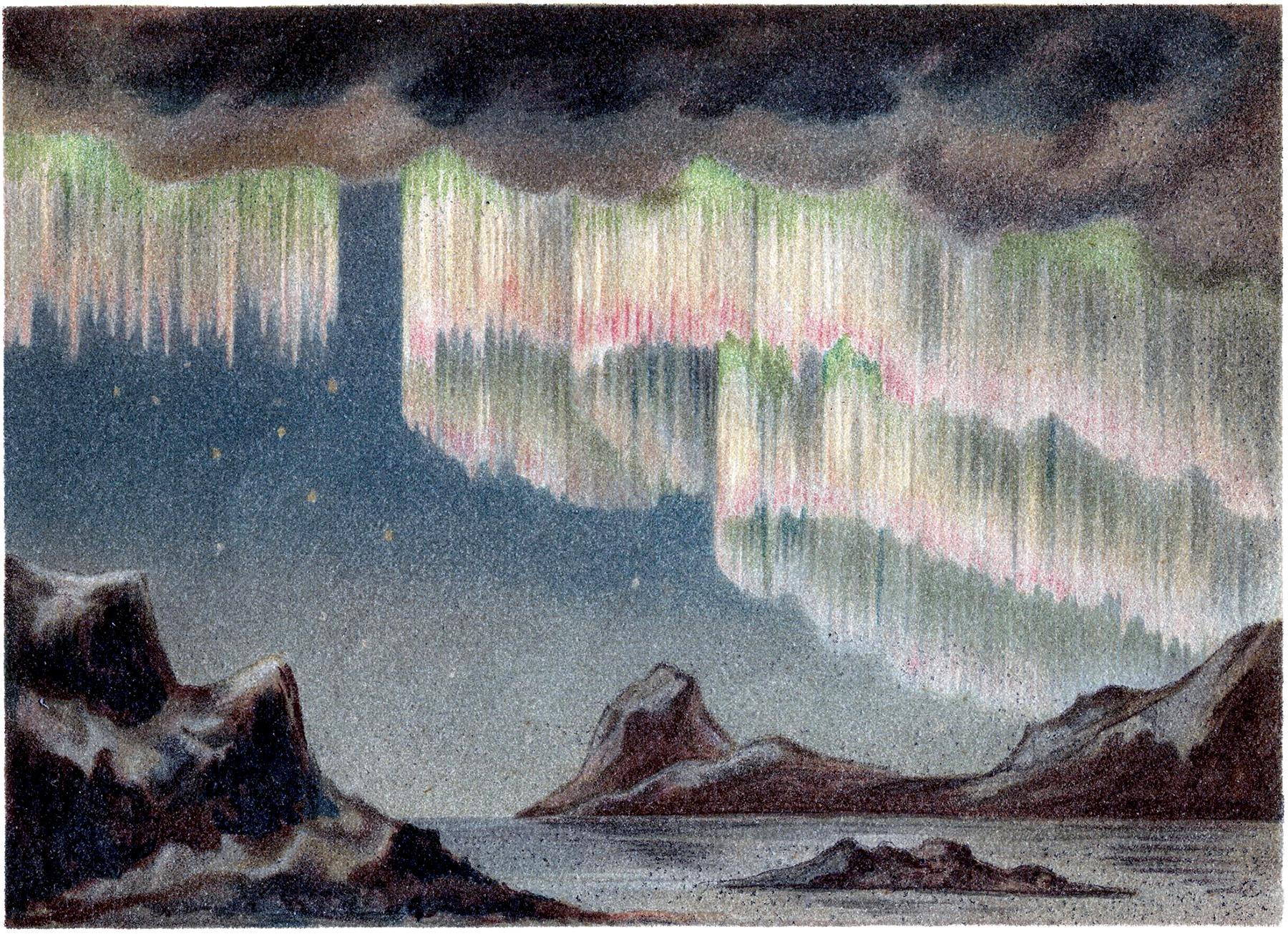 Aurora Borealis clipart black and white Lights Graphics Art Aurora Clip