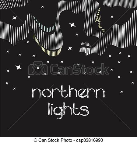 Aurora Borealis clipart black and white  Abstract and Northern Illustrations