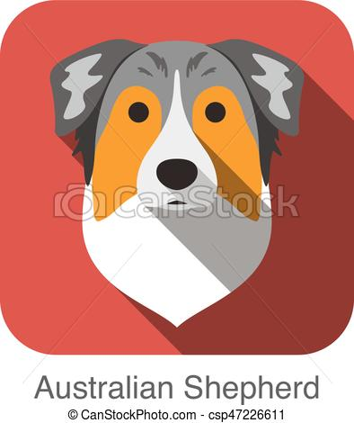 Australian Shepherd clipart Australian Shepherd Head Drawing Australian icon dog Vector of