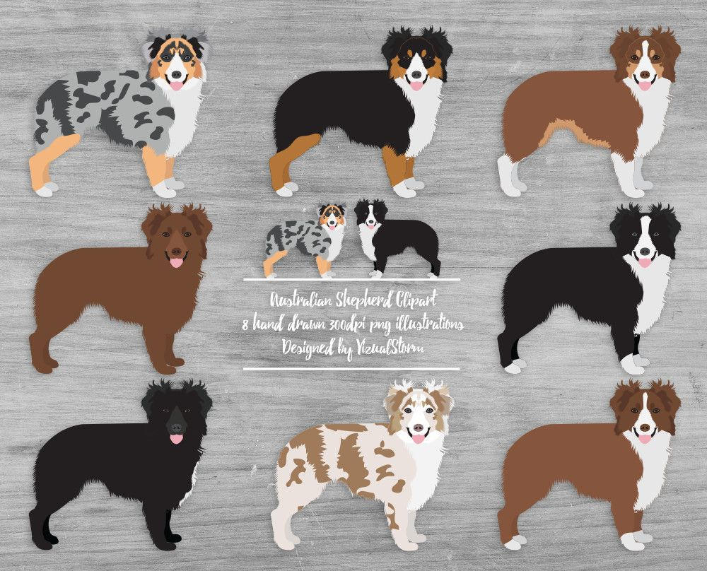 Rough Collie clipart red #1