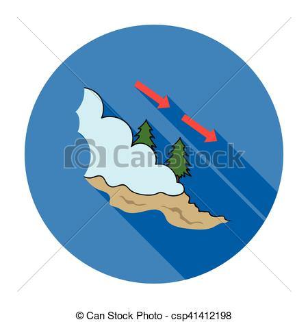 Avalanche clipart cartoon blue Illustration flat Avalanche background isolated