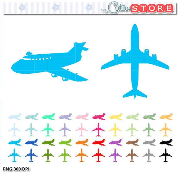 Aviation clipart travel Silhouette Digital clip set flying