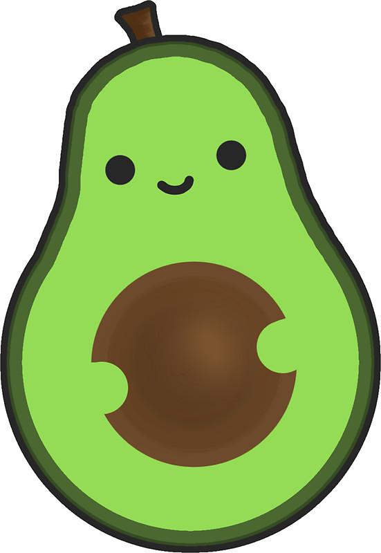 Avocado clipart cute Cute Redbubble Smiley