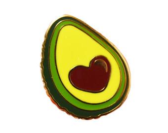 Avocado clipart cute Plated Etsy Enamel gold Kawaii