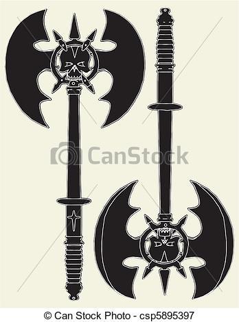 Drawn axe iron Vector Battle Search csp5895397 Illustration