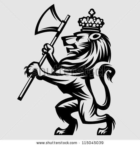 Drawn axe heraldic Badges heraldic typography vector