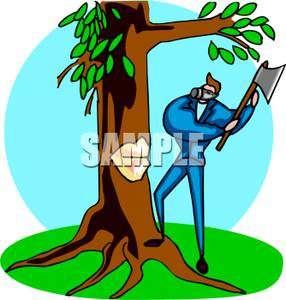 Axe clipart tree cutting #14