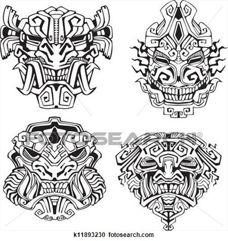 Totem Pole clipart aztec Art totem Graphic monster Clip