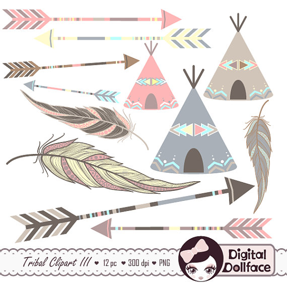 Arrow clipart aztec  baby Tribal Painted by