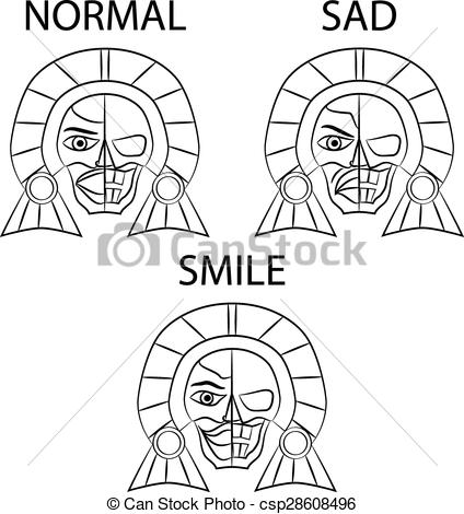 Aztec clipart black and white #7
