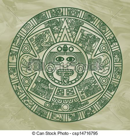 Aztec clipart drawing Illustration Green Calendar Aztec Stock