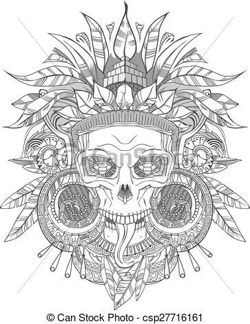 Aztec clipart drawing Indian on Skull csp27716161 Aztec