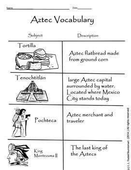 Aztec clipart merchant Wor Worksheet! II Pay Aztec