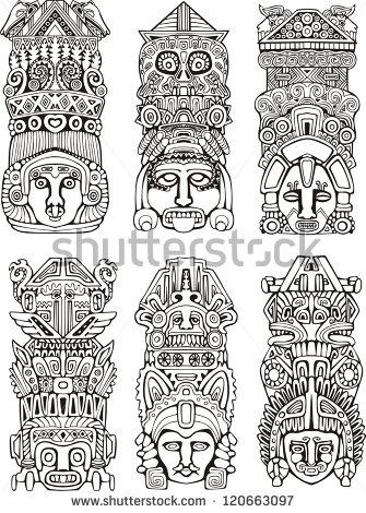 Totem Pole clipart aztec Art Stock Shutterstock Pole Clip