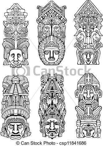 Totem Pole clipart aztec Totem poles mesoamerican Aztec totem
