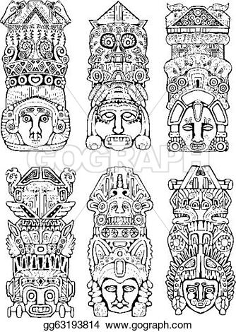 Totem Pole clipart aztec Set Abstract gg63193814 and Clip
