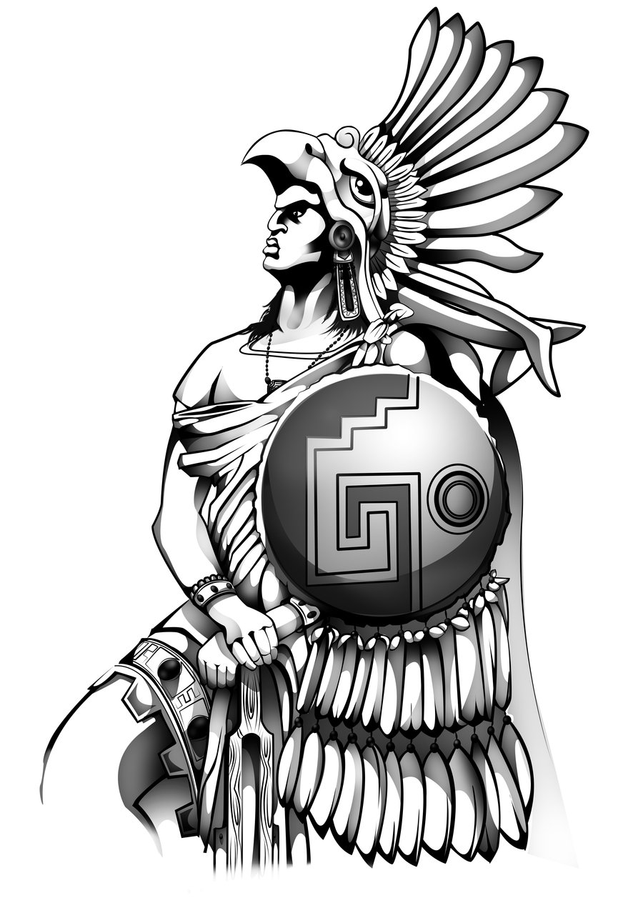 Drawn warrior gladiator Aztec for warrior eagle for