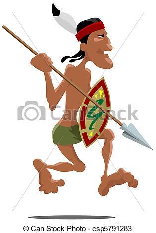 Aztec Warrior clipart ancient Warrior Art Vector of