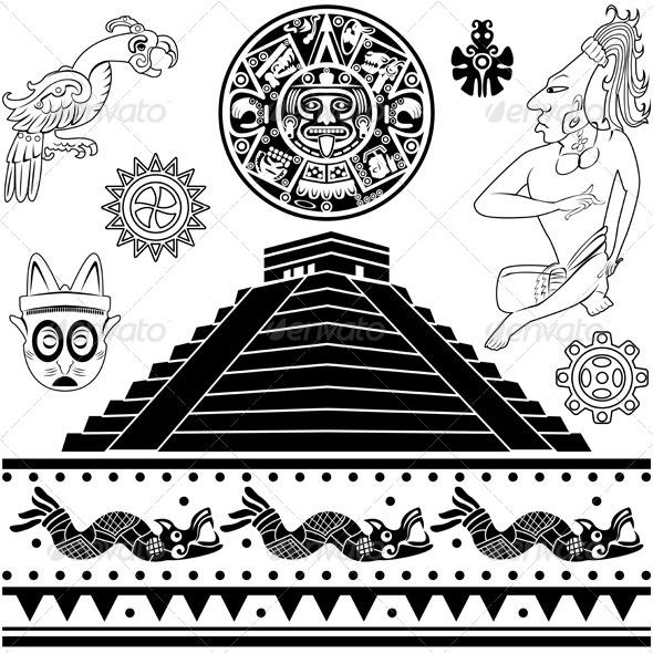 Aztec Warrior clipart ancient Belize of Ancient American Set