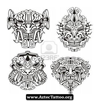 Aztec Warrior clipart black and white 02 02 Aztec White org/black