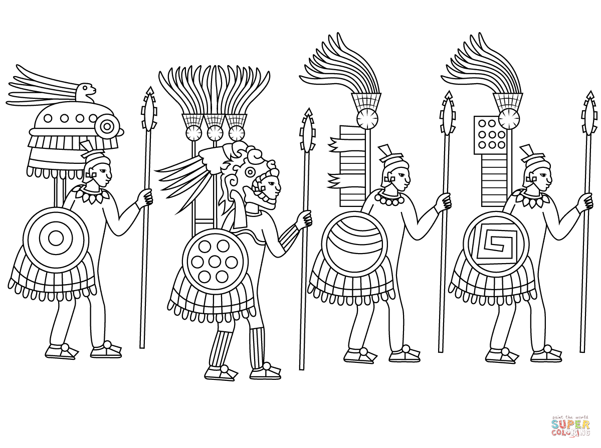 Aztec Warrior clipart black and white Page Printable Pages Aztec Coloring