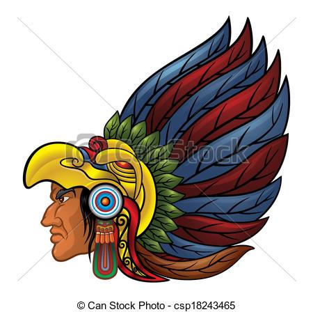 Aztec clipart head #6