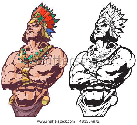 Aztec Warrior clipart fighting #3