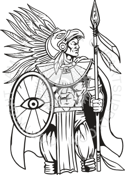 Spear clipart primitive With Standing Spear with Aztec