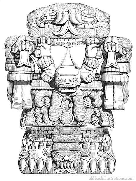 Aztec Warrior clipart mexico city Showing was statue Mexico Illustration