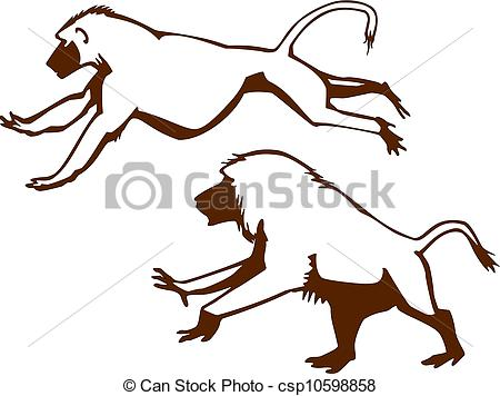 Baboon clipart funny monkey Baboon male Male Vector drawing