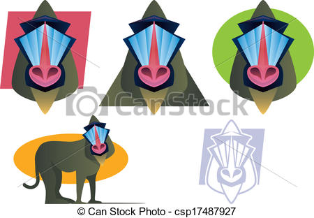 Baboon clipart mandrill Vector  Set Baboon Various