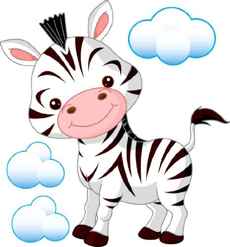 Zebra clipart nursery Childrens Cartoon Baby Zebra Sticker