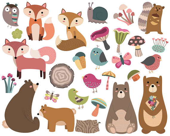 Baby Animal clipart hand drawn Woodland of Clipart Forest 29