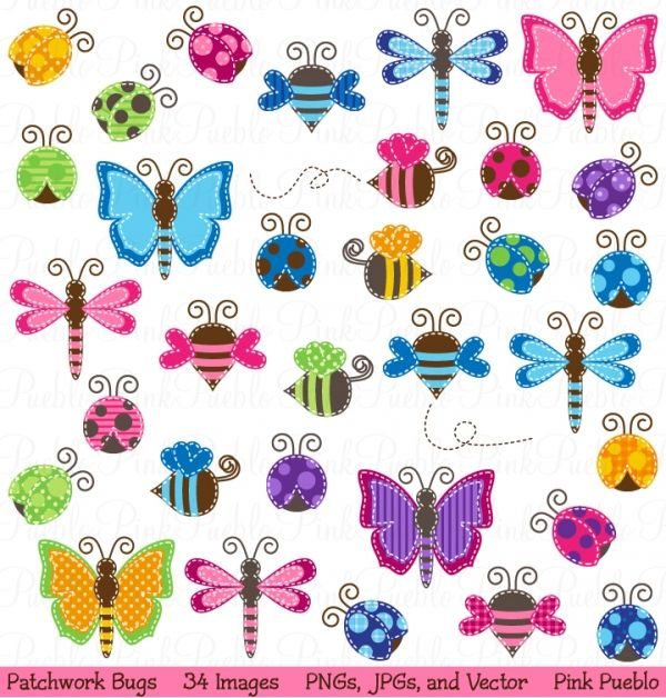 Bug clipart simple butterfly More 63 Patchwork Clip Find